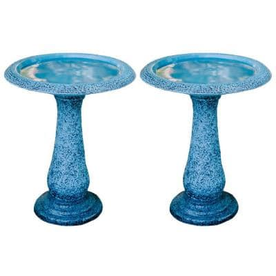 23.6 in. Tall Blue Fiber Stone Glazed Birdbaths with Tall Round Pedestal and Base (Set of 2)