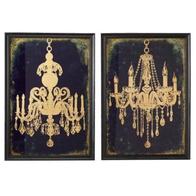 19.5 in. x 28 in. Large Indigo and Metallic Gold Chandeliers Wall Art on Iron Panels (Set of 2)