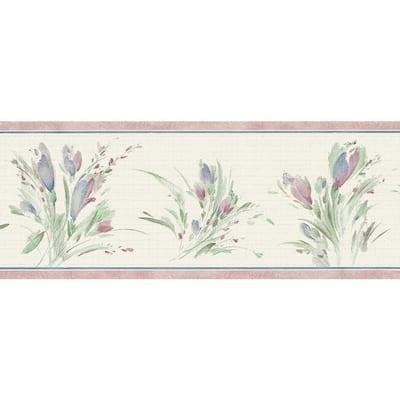 Falkirk Dandy Blue, Green, Sepia Meadow Bouquet Floral Peel and Stick Wallpaper Border