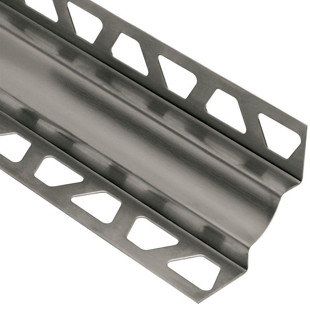 Schluter Systems Dilex Ehk Stainless Steel 11 32 In X 8 Ft 2 1 2 In Metal Cove Shaped Tile Edging Trim Ehku9 O9 The Home Depot
