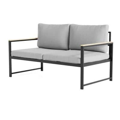 Meg Metal Outdoor Loveseat with Light Gray Cushions