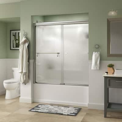 Portman 60 in. x 58-1/8 in. Semi-Frameless Traditional Sliding Bathtub Door in Chrome with Rain Glass