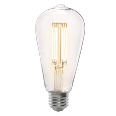 75-Watt Equivalent ST19 Dimmable LED Clear Glass Vintage Edison Light Bulb With Cage Filament Warm White