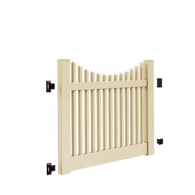 Yukon Scallop 5 ft. W x 4 ft. H Sand Vinyl Un-Assembled Fence Gate