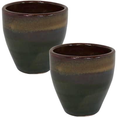 Resort 10 in. Forest Lake Green Ceramic Planter (2-Pack)