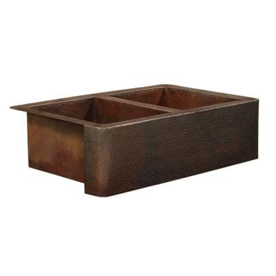 Bernini Farmhouse Apron Front Handmade Pure Solid Copper 22 in. Double Bowl Kitchen Sink in Hammered Aged Copper