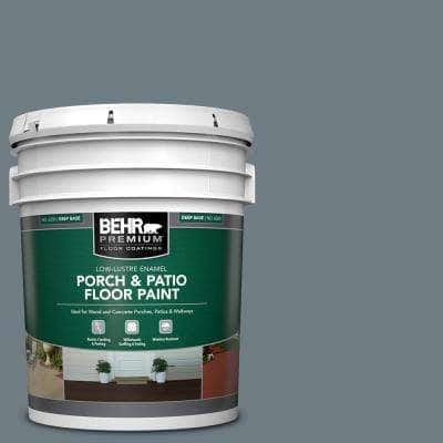 Behr Premium 5 Gal N490 5 Charcoal Blue Low Lustre Enamel Interior Exterior Porch And Patio Floor Paint 630005 The Home Depot