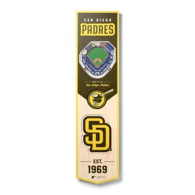 MLB San Diego Padres Wooden 8 in. x 32 in. 3D Stadium Banner-Petco Park