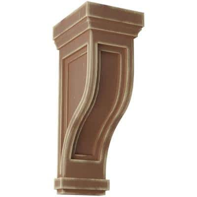 6-1/2 in. x 14 in. x 6-1/2 in. Weathered Brown Traditional Recessed Wood Vintage Decor Corbel
