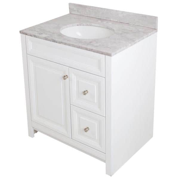 Home Decorators Collection Brinkhill 31 In W X 22 In D Bathroom Vanity In White With Stone Effect Vanity Top In Winter Mist With White Sink Bh30p2v6 Wh The Home Depot