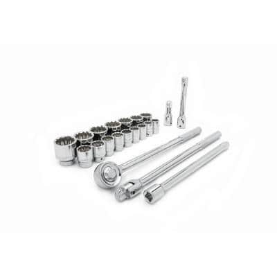 3/4 in. Drive 12 Point Standard SAE Mechanics Tool Set (21-Pieces)