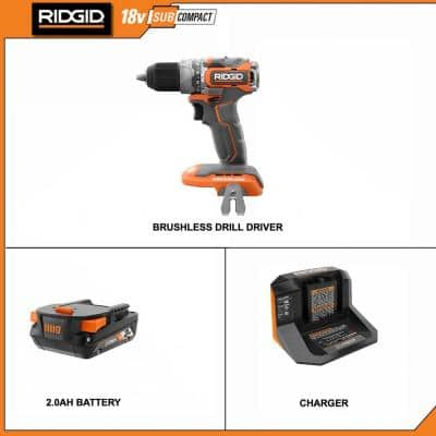 18V SubCompact Brushless 1/2 In. Hammer Drill/Driver Kit with (1) 2.0 Ah Battery, Charger, and Bag