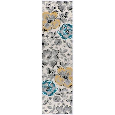 Modern Floral Design Cream 24 in. x 120 in. Runner Rug