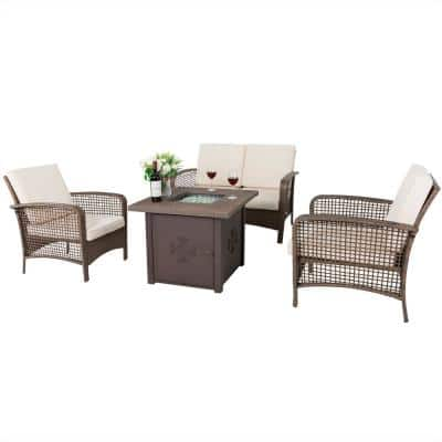 4-Piece Rattan Wicker Outdoor Sofa Patio Fire Pit Set with Beige Cushions