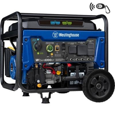 WGen5300DFc 6,600/5,300 Watt Dual Fuel Portable Generator w/Remote Start, RV and Transfer Switch Outlet for Home Backup
