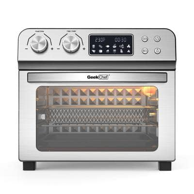 24 Qt. Silver Stainless Steel Electronic Convection Air Fryer Toaster Oven with Accessories & Recipes Included