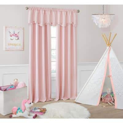 Soft Pink Faux Silk Rod Pocket Blackout Curtain - 52 in. W x 63 in. L