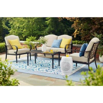 Laurel Oaks Brown 4-Piece Steel Outdoor Patio Conversation Seating Set with CushionGuard Putty Beige Cushions