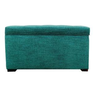 Angela Lucky Turquoise Button Tufted Upholstered Storage Trunk