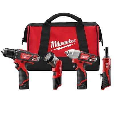 M12 12-Volt Lithium-Ion Cordless Combo Tool Kit (4-Tool) with (2) 1.5 Ah Batteries, (1) Charger, (1) Tool Bag