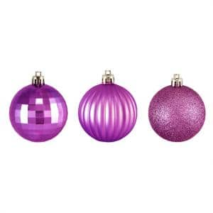 2.5 in. (60 mm) Orchid Pink Shatterproof 3-Finish Christmas Ball Ornaments (100-Count)