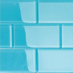 Contempo Turquoise 3 in. x 6 in. x 8 mm Polished Glass Subway Floor and Wall Tile (32 pieces 4 sq.ft./Box)