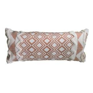 36 in. x 14 in. Orange/Cream Tufted Geometric Burnt Cotton Standard Throw Pillow