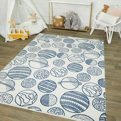 Space Planets White 5 ft. x 7 ft. Area Rug