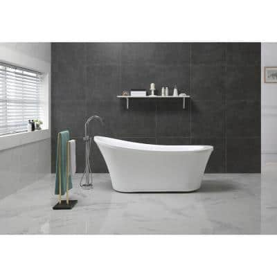 Ruby 65 in. Acrylic Double Slipper Flatbottom Freestanding Bathtub in White