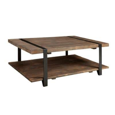Modesto 48 in. Rustic/Natural Large Rectangle Wood Coffee Table with Shelf