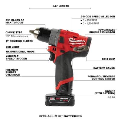 M12 FUEL 12-Volt Li-Ion Brushless Cordless Hammer Drill/Impact Driver/Impact Wrench/Ratchet Combo Kit (5-Tool)