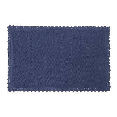 Reversible Crochet Beaded 17 in. x 24 in. Bath Rug, Indigo