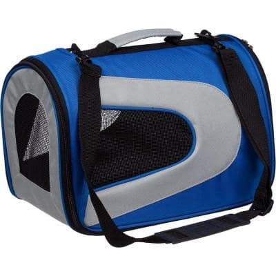 Airline Approved Blue Sporty Folding Zippered Mesh Carrier - LG