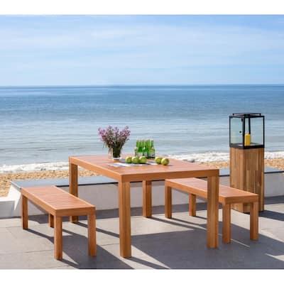 Dario Natural Brown 3-Piece Wood Outdoor Dining Set