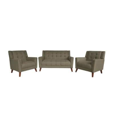 Candace Mid-Century Modern 3-Piece Tufted Mocha Fabric Arm Chair and Loveseat Set
