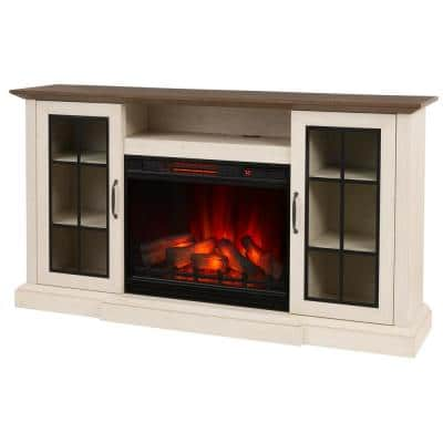 Vinegate 68 in. Freestanding Media Console Electric Fireplace in White
