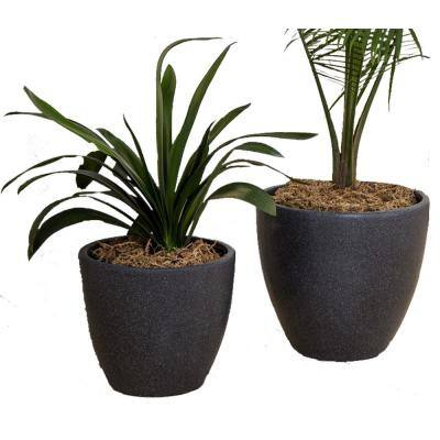 Xbrand 14 in. Tall and 12 in. Tall Black Modern Nested Round Flower Concrete Pot Planter (Set of 2 Different Sizes)