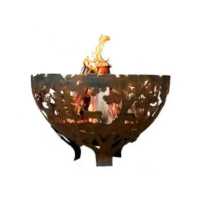 Wildlife 32 in. x 19 in. Round Steel Wood Burning Fire Pit in Rust