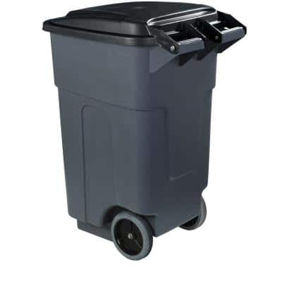 50 Gal. Grey Rolling Trash Can with Attached Lid (2-Pack)
