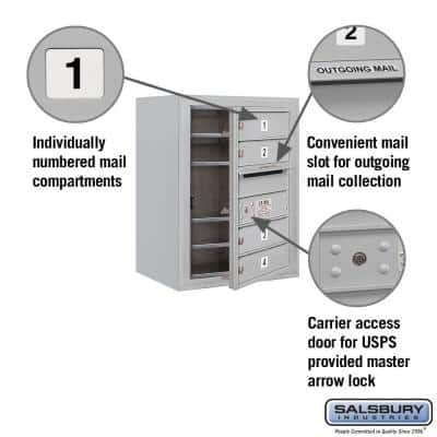 3800 Horizontal Series 4-Compartment Surface Mount Mailbox