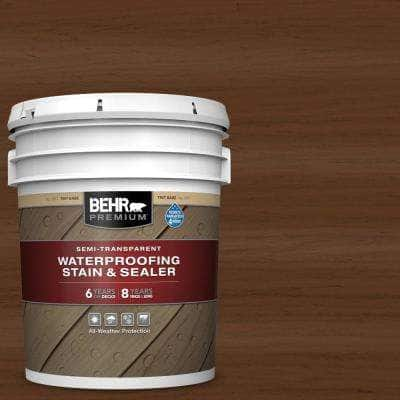 5 gal. #ST-129 Chocolate Semi-Transparent Waterproofing Exterior Wood Stain and Sealer