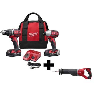 M18 18-Volt Lithium-Ion Cordless Drill Driver/Impact Driver Combo Kit (2-Tool) with 2 Batteries and Reciprocating Saw