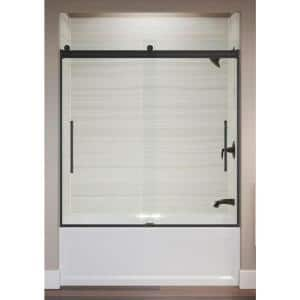 Elmbrook 49.625 in. x 61.5625 in. Frameless Sliding Bathtub Door in Matte Black