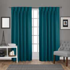 Teal Thermal Pinch Pleat Blackout Curtain - 30 in. W x 84 in. L (Set of 2)