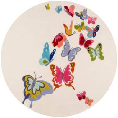Lil Mo Whimsy Butterfly Ivory 5 ft. x 5 ft. Indoor Kids Round Area Rug