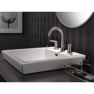 Trinsic 8 in. Widespread 2-Handle Bathroom Faucet with Metal Drain Assembly in Stainless