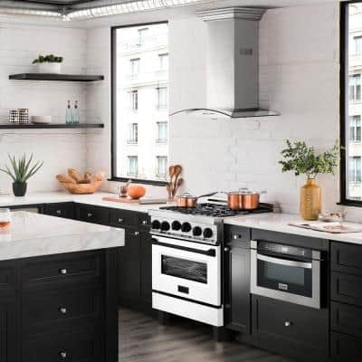 30 in. 4.0 cu. ft. Gas Range with Convection Gas Oven in Stainless Steel with White Matte Door and Matte Black Accents