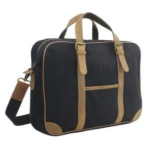 16 in. Black Casual Style Canvas Laptop Messenger Bag with 15 in. Laptop Compartment