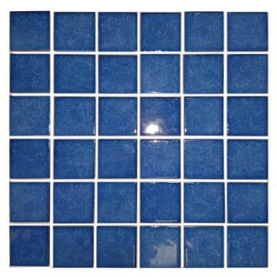 Monet Blue Pool Rated Square Mosaic 2 in. x 2 in. Glossy Porcelain Wall and Pool Tile (22 sq. ft./case)