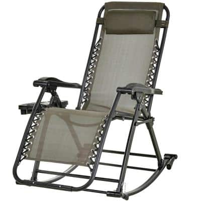Folding Zero Gravity Rocking Lounge Chair with Cup Holder Tray, Durable Fabric and Folding Design in Grey